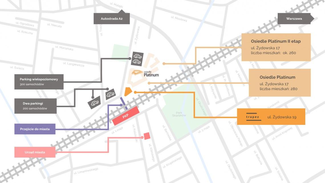 mapa lokalizacji Osiedle Platinum - Grodzisk Mazowiecki - Developer